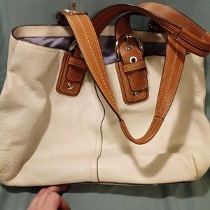 Coach White Leather Pebbled Leather Tote
